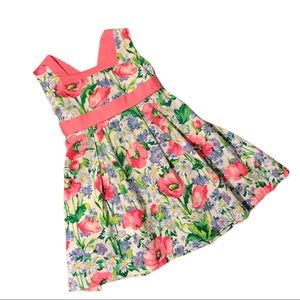Hartstrings Pink Blue Green Flower Girls Dress, 3T